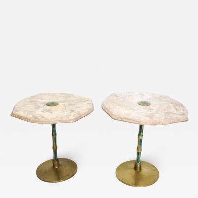 Pepe Mendoza Pepe Mendoza Sublime Round Side Tables in Marble Malachite and Bronze 1950s