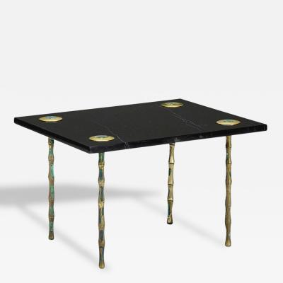 Pepe Mendoza Rare Marble and Inlaid Brass Table by Pepe Mendoza