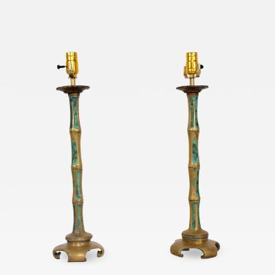 Pepe Mendoza Swanky Bronze Faux Bamboo Turquoise Table Lamps by Pepe Mendoza 1950s a Pair