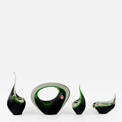 Per L tken Four rare Flamingo vases and sculptures in green art glass