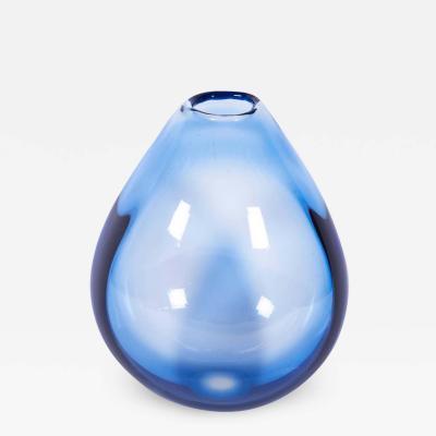 Per L tken Large Handblown Blue Glass Vase by Per Lutken for Holmegaard 1960s