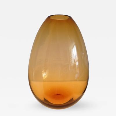 Per L tken Pear Shaped Amber Art Glass Vase