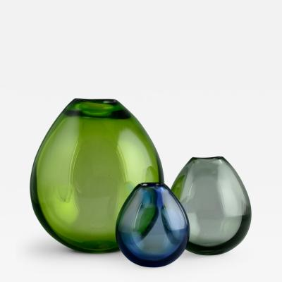 Per L tken Per Lutken for Holmegaard Three Soap Bubble Vases in Green Blue and Gray Glass