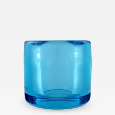 Per L tken Turquoise vase in mouth blown art glass