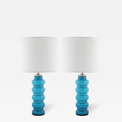 Per Olof Str m Blue Cased Glass Table Lamps by Pers Olof Str m for Alsterfors c 1960s
