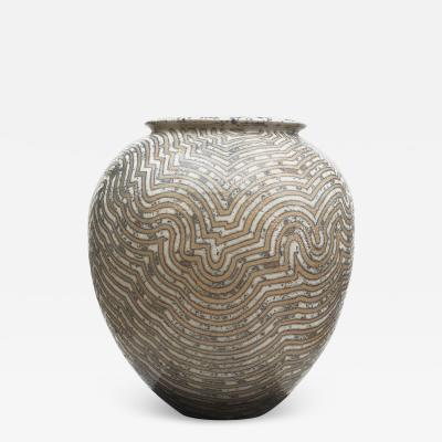 Per Weiss PER WEISS COLOSSAL STONEWARE FLOOR VASE WITH GEOMETRIC PATTERN