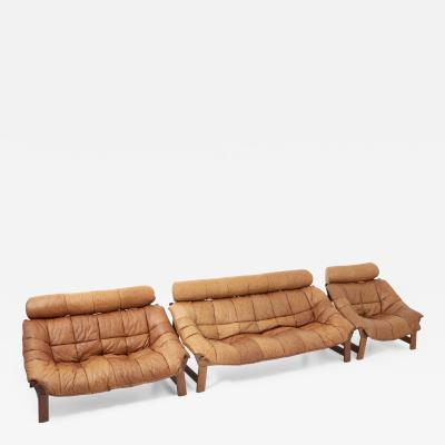 Percival Laf r Style Sofas and Lounge Chair in Cognac Leather