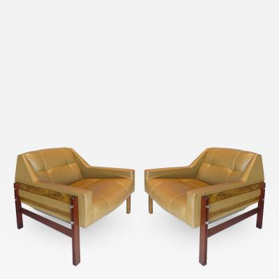 Percival Lafer Brazilian Jacaranda Wood Mid Century Club Chairs by Percival Lafer