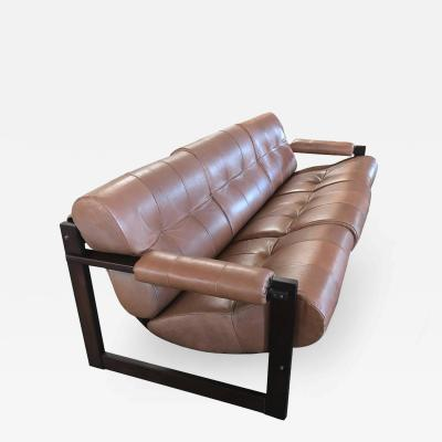 Percival Lafer Brown Leather and Rosewood Sofa by Lafer