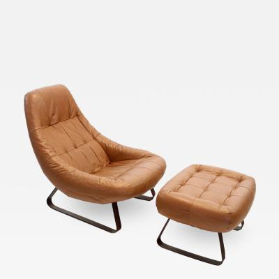 Percival Lafer Mid Century Modern Earth Chair Ottoman by Percival Lafer