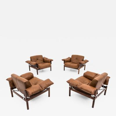Percival Lafer Midcentury Brasilian Lounge Chairs in Lether and Rosewood by Percival Laf r