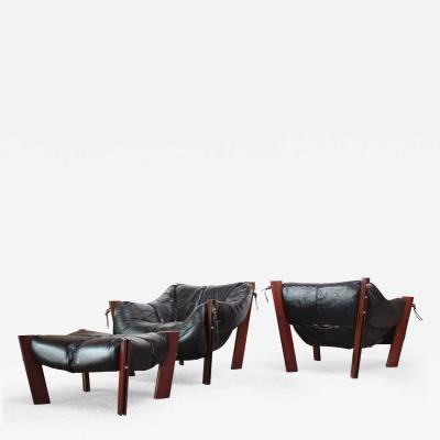 Percival Lafer Pair of Jacaranda and Leather Lounge Chairs and Ottoman by Percival Lafer