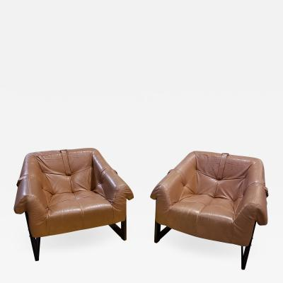 Percival Lafer Pair of Percival Lafer Rosewood and Leather Lounge Chairs