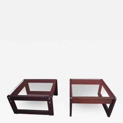 Percival Lafer Pair of Rosewood and Glass Side Tables by Percival Lafer