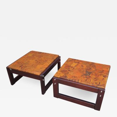 Percival Lafer Pair of Rosewood and Patchwork Copper Side Tables by Percival Lafer