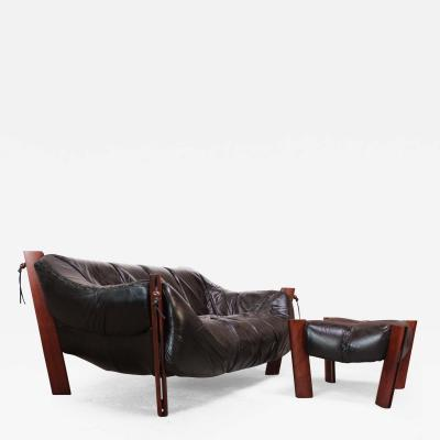 Percival Lafer Percival Lafer MP 211 Jacaranda and Leather Two Seat Sofa with Ottoman