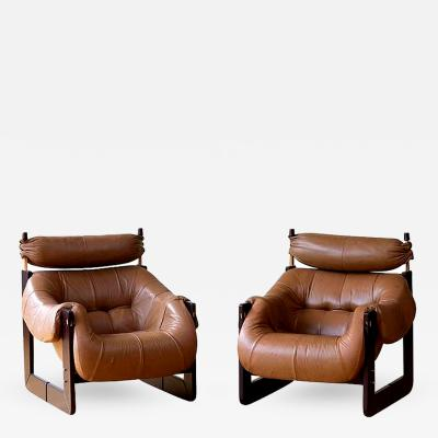 Percival Lafer Rare Matched Pair of Percival Lafer Lounge Chairs in Leather and Rosewood