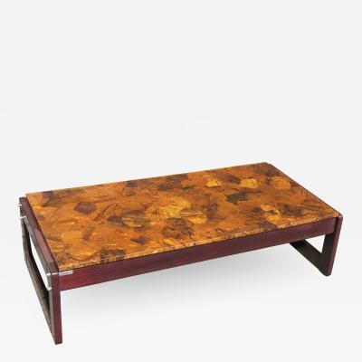 Percival Lafer Rosewood and Patchwork Copper Coffee Table by Percival Lafer