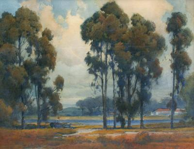 Percy Gray Eucalypti with Ranch House by a River