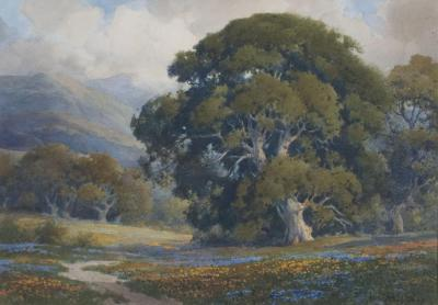 Percy Gray Poppies and Lupines under the Oak
