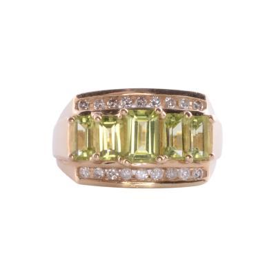 Peridot Diamond 14K Ring
