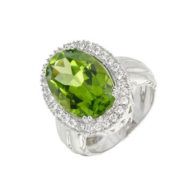 Peridot Diamond Halo 18k White Gold Cocktail Ring