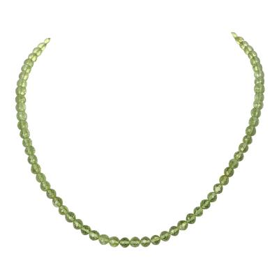 Peridot Faceted Round Beads Necklace Toggle Clasp