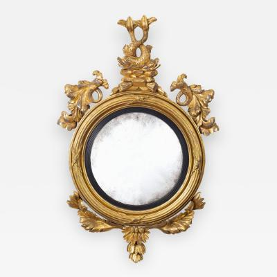Period Regency Giltwood Convex Mirror with Dolphins