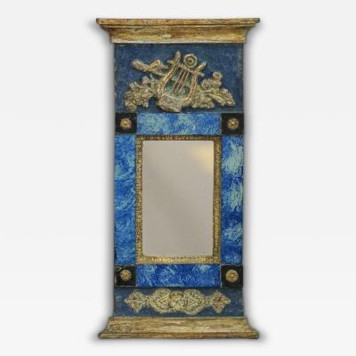 Period Swedish Mirror with Reverse Painted Glass