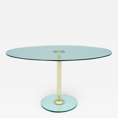 Peter Draenert Oval Glass and Brass Dining Table by Draenert Germany 1970s