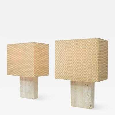Peter Draenert Pair of Travertine and Brass table Lamps by Dreanert 1970s