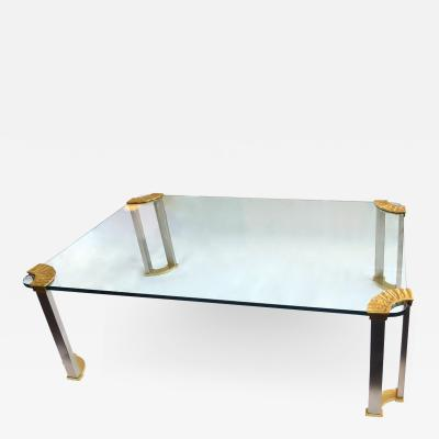 Peter Ghyczy Italian Modernist Glass Bronze Coffee Table