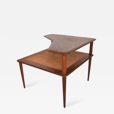 Peter Hvidt France Sons Peter Hvidt Corner Teak Cane Table Danish Modern Daverkosen