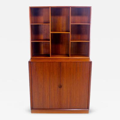 Peter Hvidt Orla M lgaard Nielsen Danish Modern Solid Teak Cabinet w Tambour Doors Designed by Peter Hvidt