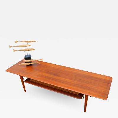 Peter Hvidt Orla M lgaard Nielsen Hvidt Solid Teak Knife Edge Coffee Table w Cane Woven Shelf
