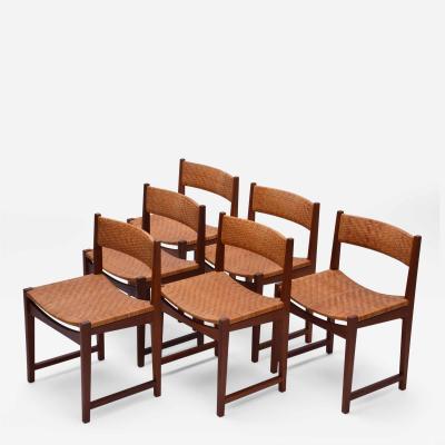 Peter Hvidt Orla M lgaard Nielsen Model 350 Dining Chairs by Hvidt M ldgaard Nielsen in Teak and Woven Cane