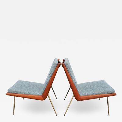 Peter Hvidt Orla M lgaard Nielsen Pair Teak Hvidt Molgaard Boomerang Lounge in Teal Tweed