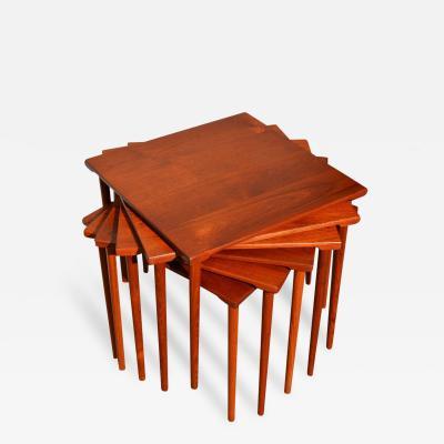Peter Hvidt Orla M lgaard Nielsen RARE set of 6 SOLID TEAK SIDE STACKING COFFEE TABLES by Hvidt