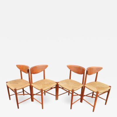 Peter Hvidt Orla M lgaard Nielsen Set of 4 Hvidt Molgaard Nielsen Folded Back Teak Dining Chairs w Seagrass