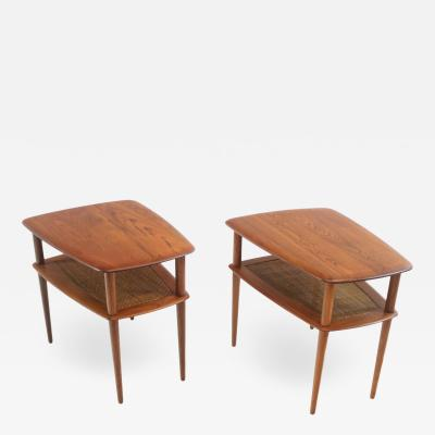 Peter Hvidt Pair of Scandinavian Modern Solid Teak Minerva Side Tables by Peter Hvidt