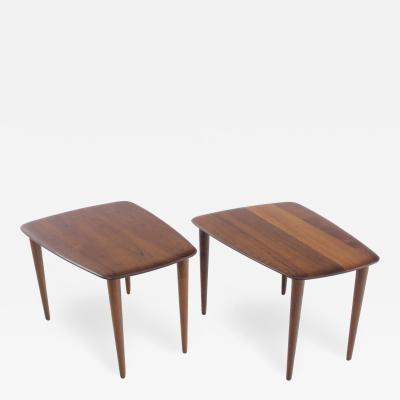 Peter Hvidt Rare Pair of Scandinavian Modern Solid Teak Tables Designed by Peter Hvidt