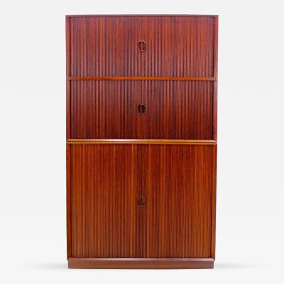 Peter Hvidt Solid Teak Danish Modern Tambour Door Cabinet Designed by Peter Hvidt
