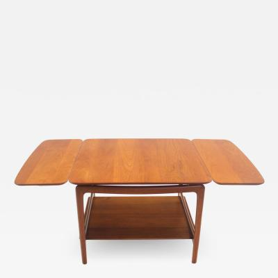 Peter Hvidt Solid Teak Scandinavian Modern Drop Leaf Side Table by Peter Hvidt