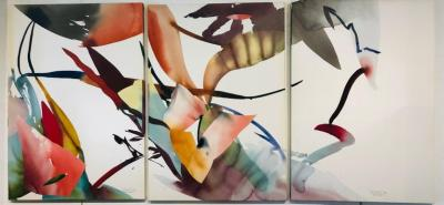 Peter Kitchell Kite Fight Triptych Mixed Media Modern Abstract American Artist Peter Kitchell