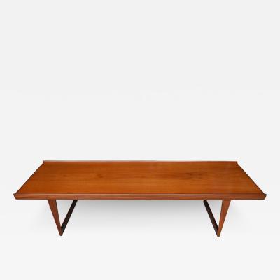 Peter L vig Nielsen Long Danish Modern Teak Coffee Table by L vig Nielsen Denmark