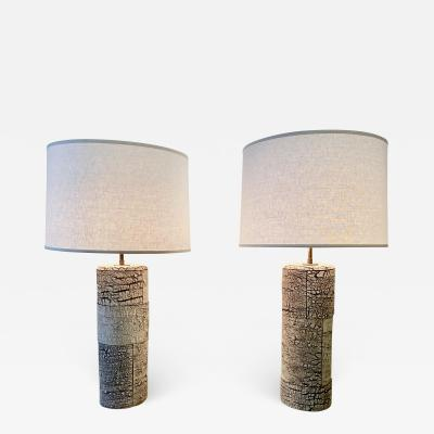 Peter Lane Pair Of Ceramic Birchbark Table Lamps by Peter Lane