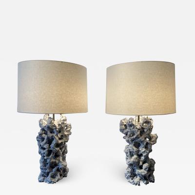 Peter Lane Pair of Scholar s Rock Glazed Ceramic Table Lamps by Peter Lane