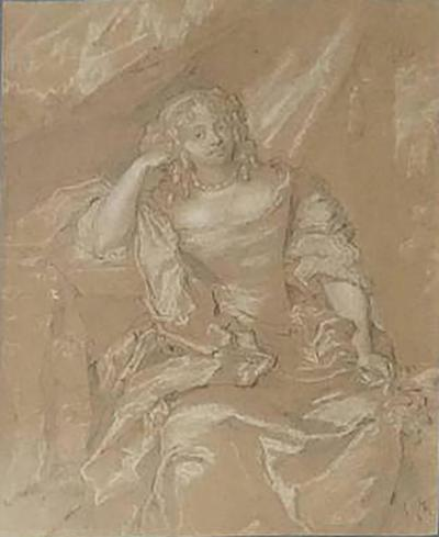 Peter Lely Old Master Portrait Drawing School of Sir Peter Lely