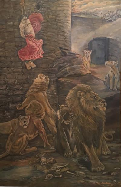 Peter Maier MID CENTURY MEDIEVAL SACRIFICE TO LION DEN PAINTING