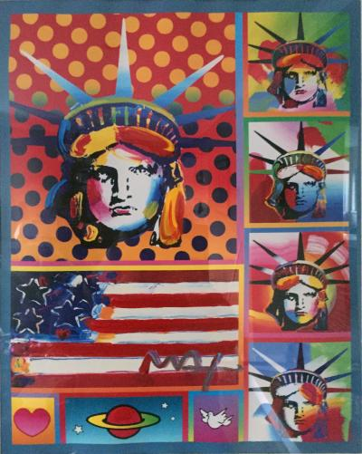 Peter Max Five Liberties and Flag